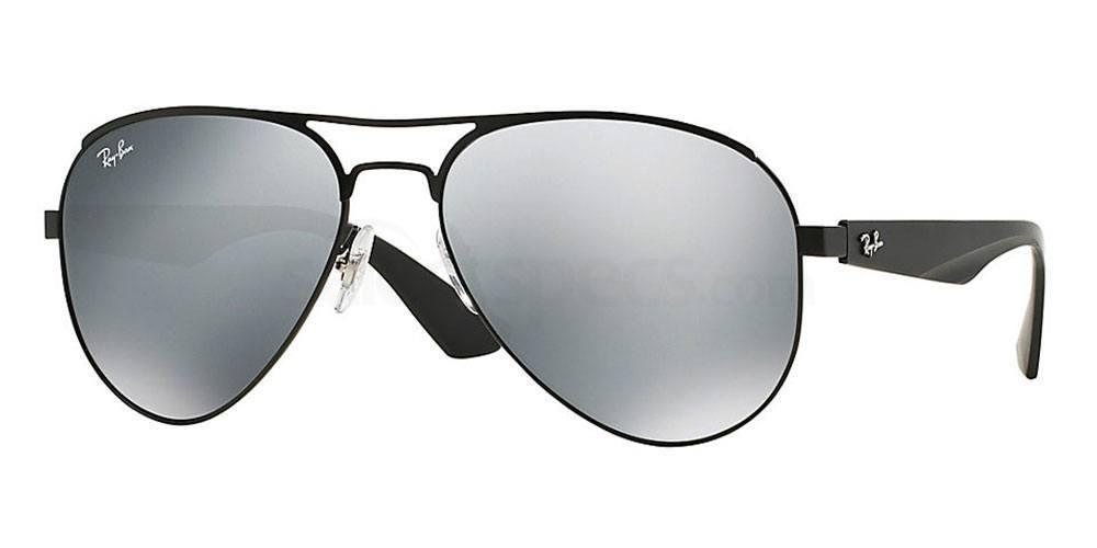 Aviator sunglasses matte silver mirrored