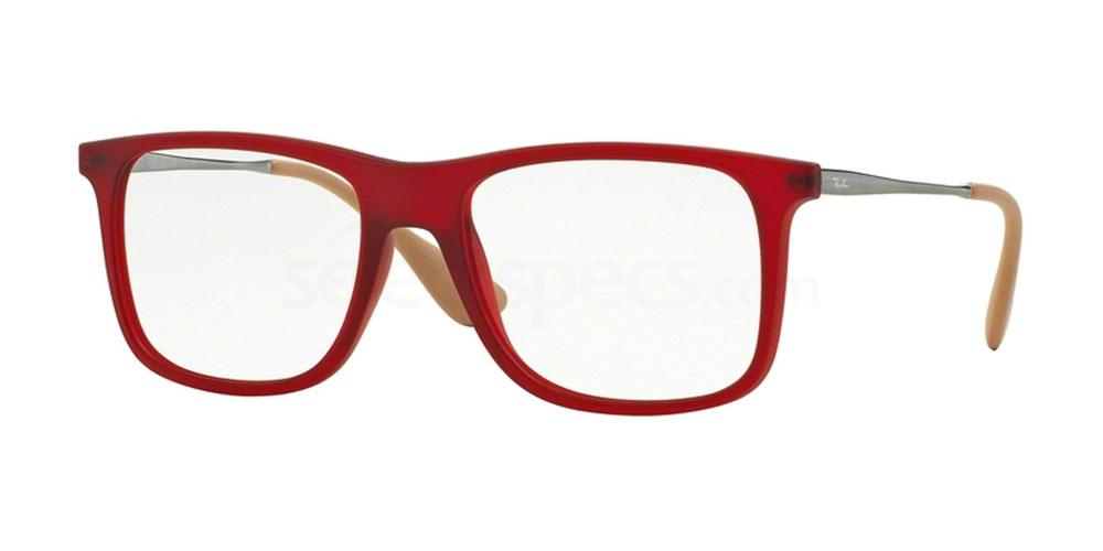 Ray-Ban RX7054 rubber red prescription glasses