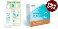 Bausch & Lomb - Pure Vision 2 HD for Astigmatism with BioTrue Solution (Pack Deal)