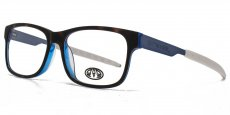 TOR tortoiseshell with blue interior and frosted blue temples with white rubber eartips