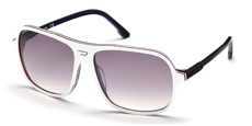 24C White/transparent red/shiny transparent blue, transparent dark blue temples, flash silver gradient dark grey lenses