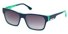 92W Blue/white stripe/green, green/white stripe/blue temple tips, gradient blue lenses
