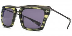 GRN Striped green crystal with dark gunmetal brow detailing and temples. Solid smoke lenses