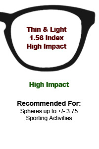 1.56 Thin & Light High Impact Lenses
