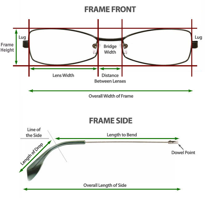 Eyeglass Frame Size Guide : Guide to measuring your glasses frame SelectSpecs.com