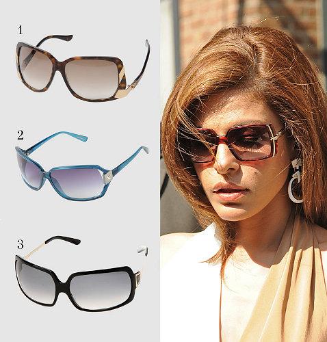 Ева Мендес в прямоугольных солнцезащитных очках